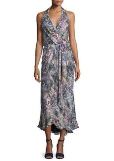 Haute Hippie Halter-Neck Faux-Wrap Dress
