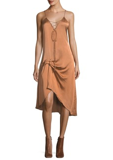 Haute Hippie Hampton Lace-Front Satin Slip Midi Dress