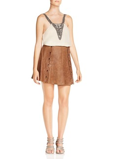 Haute Hippie Heat of the Sun Snap-Detail Suede Mini Skirt
