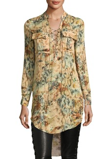 Haute Hippie Hellfire Lace-Up Printed High-Low Silk Blouse