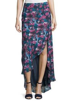 Haute Hippie High-Low Asymmetric Floral-Print Silk Skirt