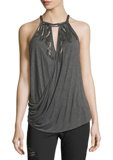 Haute Hippie Hippie Trails Sleeveless Draped Top with Embellishments