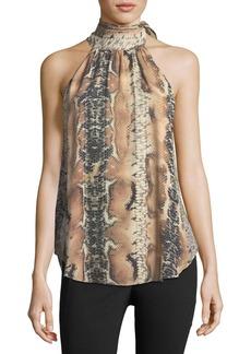 Haute Hippie Hold-Up Necktie Snake-Print Silk Blouse