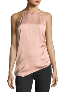 Haute Hippie I Wished For You Halter Asymmetric Satin Top