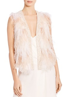 Haute Hippie Kate Open-Front Feather Vest