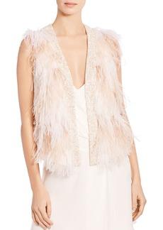 Haute Hippie Kate Open-Front Feather Vest