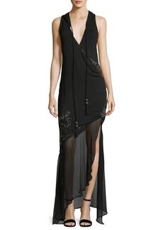 Haute Hippie King of Salem Sleeveless Silk Chiffon Dress with Beaded Embellishments