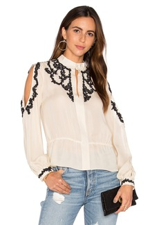Haute Hippie Lace Applique Cold Shoulder Blouse