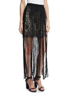 Haute Hippie Lace Mini Skirt w/ Silk Fringe