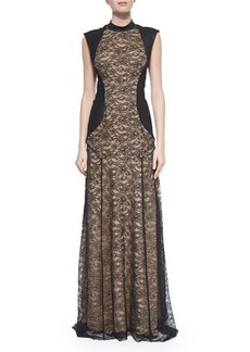 Haute Hippie Lace Mock-Neck Gown with Suede