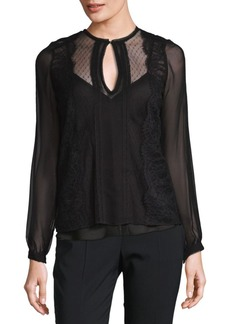 Haute Hippie Lace-Trimmed Blouse