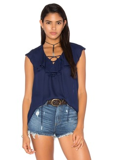 Haute Hippie Lace Up Front Ruffle Blouse