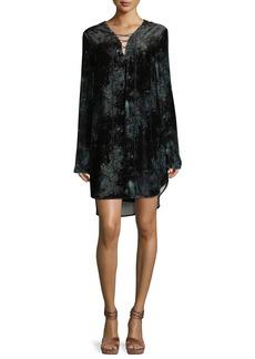 Haute Hippie Lace-Up Long-Sleeve Velvet Tunic Dress