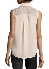 Haute Hippie Lace-Yoke Tank Blouse