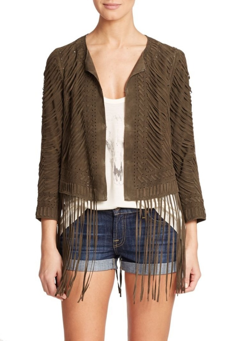 Haute Hippie Laced Fringe-Trim Suede Jacket