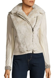 Haute Hippie Lamb Leather & Rabbit Fur Jacket