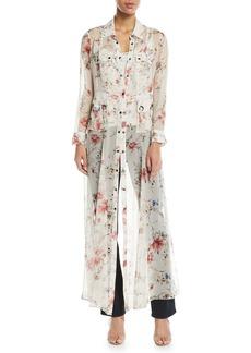 Haute Hippie Last-Draw Floral-Print Snap Front Gown