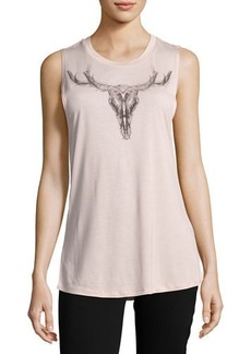 Haute Hippie Long Horn-Graphic Muscle Tank