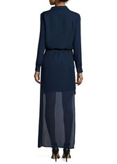 Haute Hippie Long-Sleeve Belted High-Low Dress