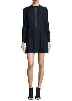 Haute Hippie Long-Sleeve Silk Victorian Mini Dress