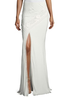 Haute Hippie Lux Crocheted Front-Slit Maxi Skirt