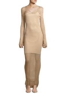 Haute Hippie Maureen Long-Sleeve Crochet Maxi Dress