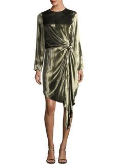 Haute Hippie Melanie Long-Sleeve Velvet Knot Cocktail Dress