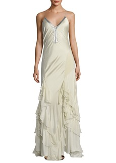 Haute Hippie Melchizedek Long Wrapped Ruffle Evening Gown