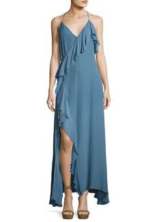 Haute Hippie Metamorphosis Ruffled Wrap Maxi Dress