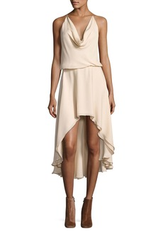Haute Hippie Michelle Sleeveless Cowl-Neck High-Low Dress