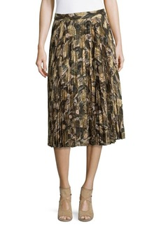 Haute Hippie Mid-Rise Pleated Skirt