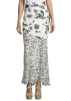 Haute Hippie Mixed-Print Maxi Skirt