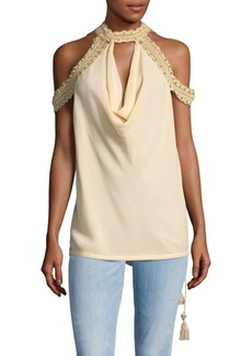 Haute Hippie Mockneck Silk Cold Shoulder Top