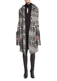 Haute Hippie Multipattern Hooded Leather-Trim Coat