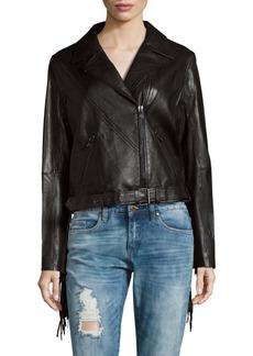 Haute Hippie Notch Collar Tassel Back Leather Jacket