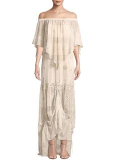 Haute Hippie Off-The-Shoulder Maxi Dress