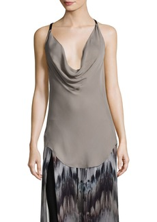 Haute Hippie Osiris Cowl-Neck Silk Top w/ Leather Straps