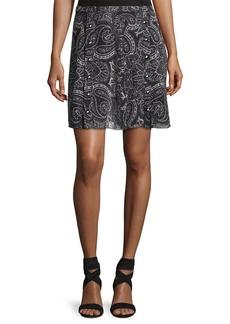 Haute Hippie Paisley-Printed Silk Snap Skirt