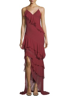 Haute Hippie Passing the Time Asymmetric Ruffle V-Neck Gown