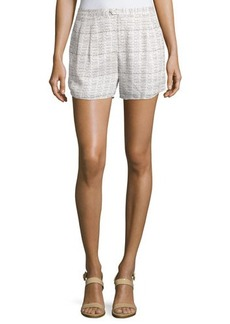 Haute Hippie Pleated-Front Printed Shorts