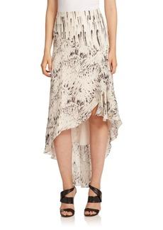 Haute Hippie Printed Silk Hi-Lo Ruffle Skirt
