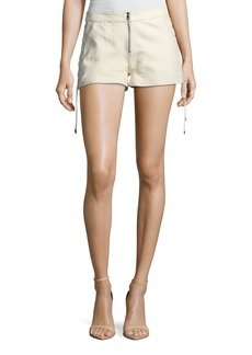 Haute Hippie Rattlesnake Snake-Print Leather Lace-Up Side Shorts