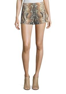 Haute Hippie Riding Wild Snake-Print Silk Shorts