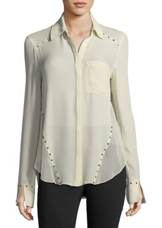 Haute Hippie Rioting Star Button-Front Silk Blouse with Studded Trim