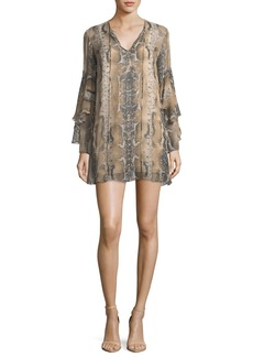 Haute Hippie Rock and Roll Split-Neck Snake-Print Silk Mini Dress