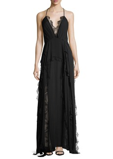 Haute Hippie Ruffled Waterfall Deep V-Neck Silk Evening Gown w/ Lace