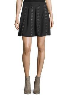 Haute Hippie Sagat Silk Mini Skirt W/ Grommets
