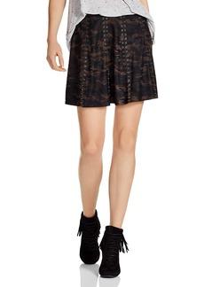 Haute Hippie Sagat Camouflage Leather A-Line Skirt
