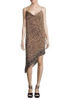 Haute Hippie Sahara Cowl-Neck Asymmetric-Hem Leopard-Burnout Velvet Dress