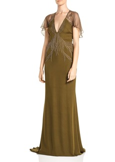 Haute Hippie Shaded Palm Bead-Embellished Silk Gown